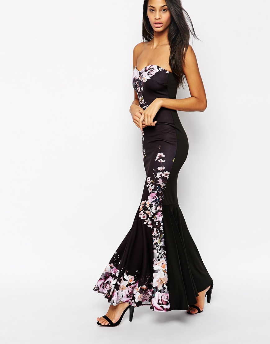 Lipsy fishtail maxi dress with sequin lace trim