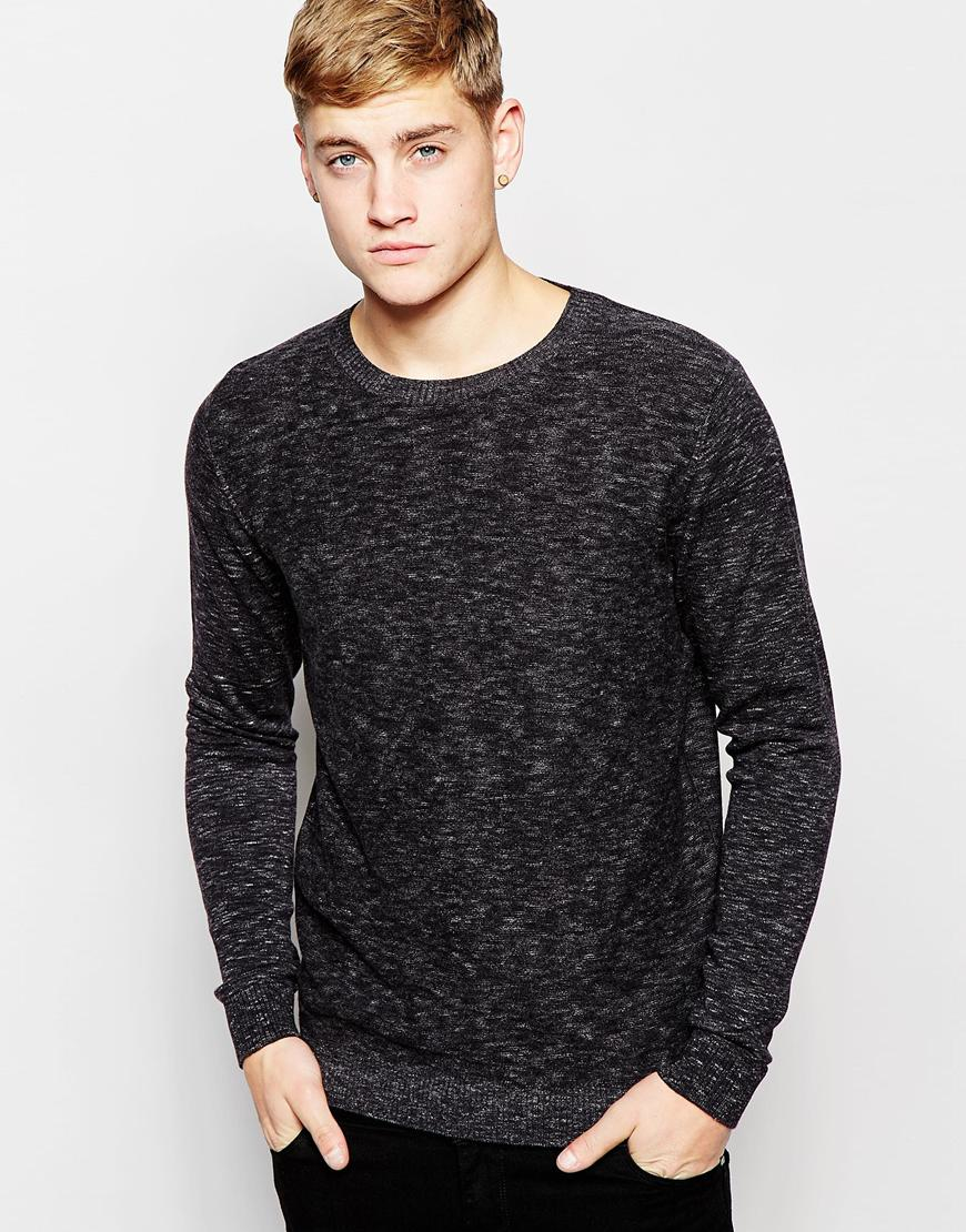 jack jones knitted crew neck sweater in black for men lyst. Black Bedroom Furniture Sets. Home Design Ideas
