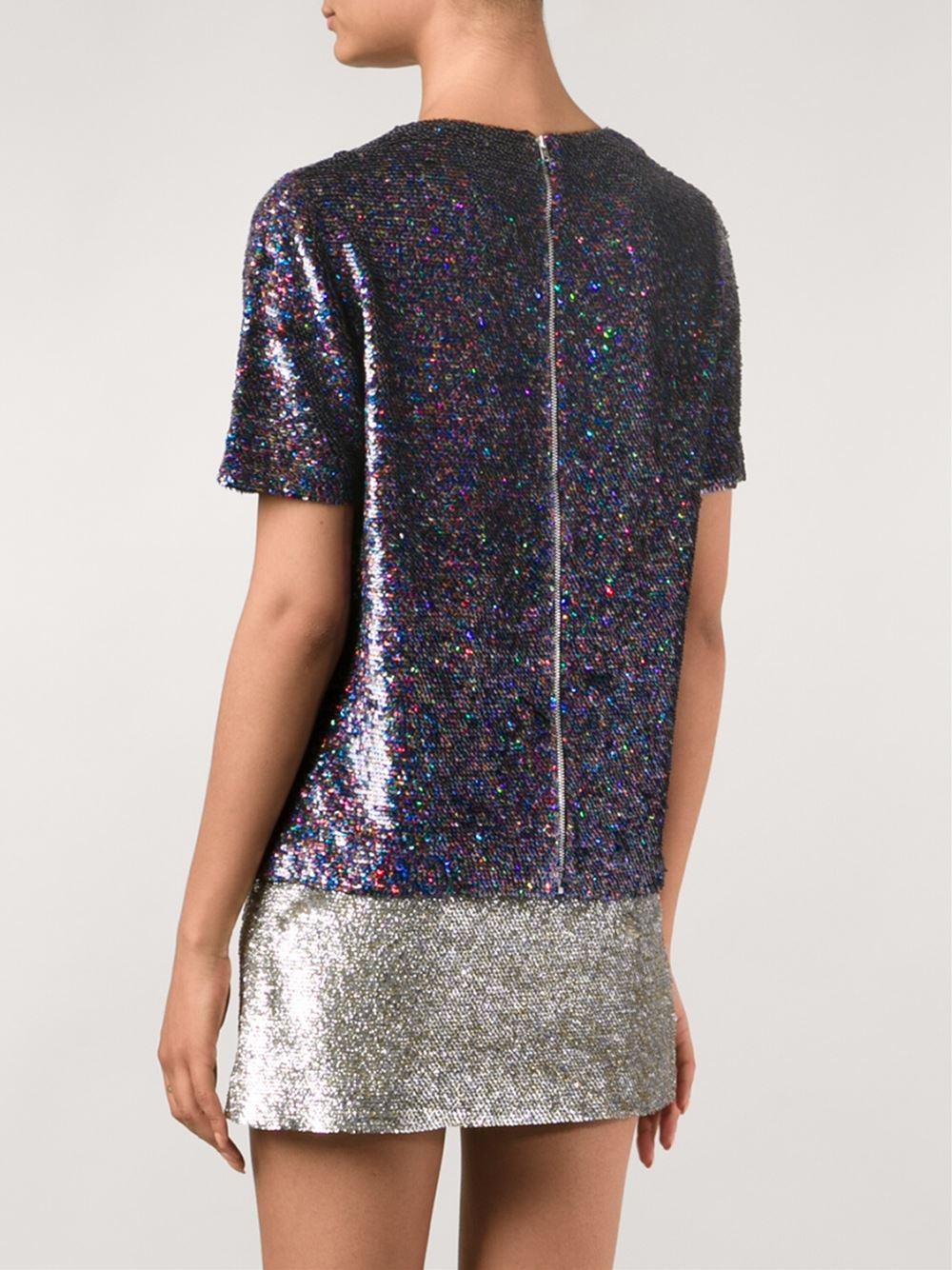 Ashish joyful sequin t shirt in multicolor multicolour for Sequin t shirt changing
