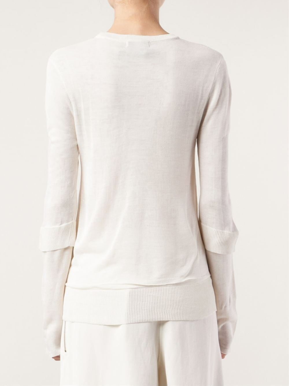 lyst calvin klein pullover sweater in white. Black Bedroom Furniture Sets. Home Design Ideas