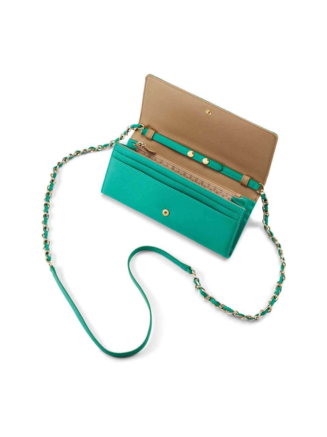 a2a91c405c4f Lyst - DKNY Saffiano Leather Wallet Clutch in Green