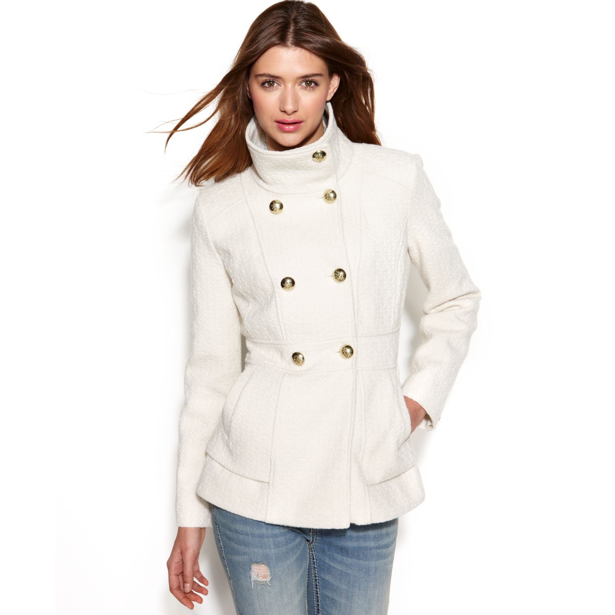46cbbf02b16 Lyst - Jessica Simpson Double Breasted Boucle Peacoat in White