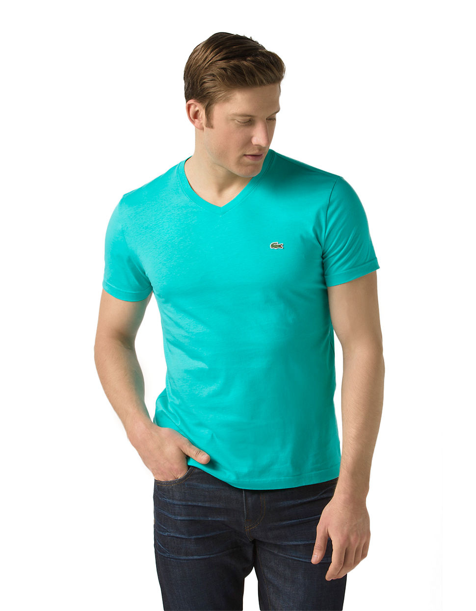 lacoste cotton v neck t shirt in blue for men thalas. Black Bedroom Furniture Sets. Home Design Ideas
