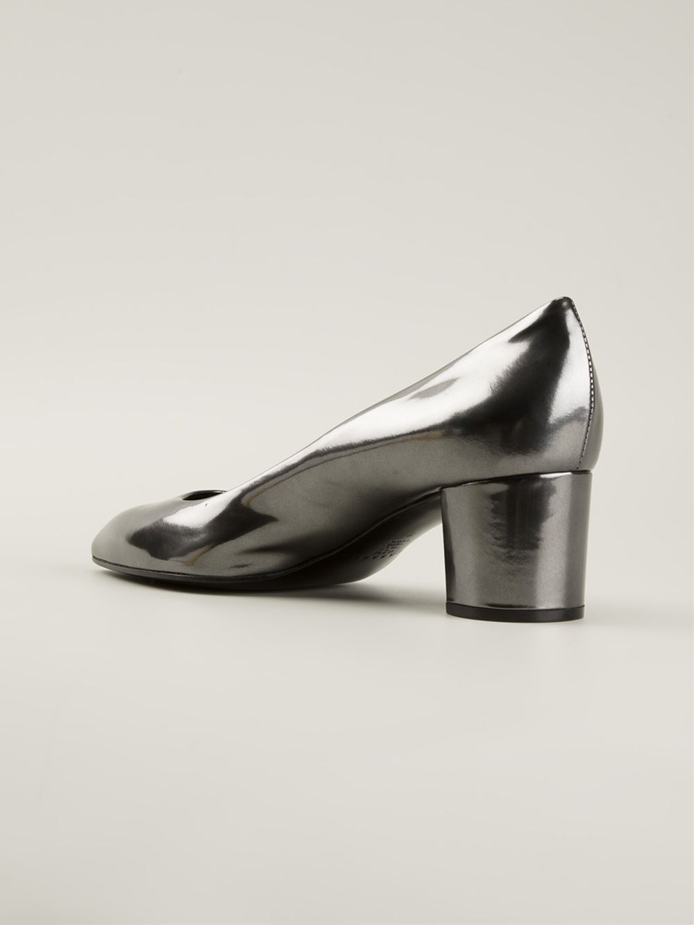 Casadei Chunky Low Heel Pumps in Gray | Lyst