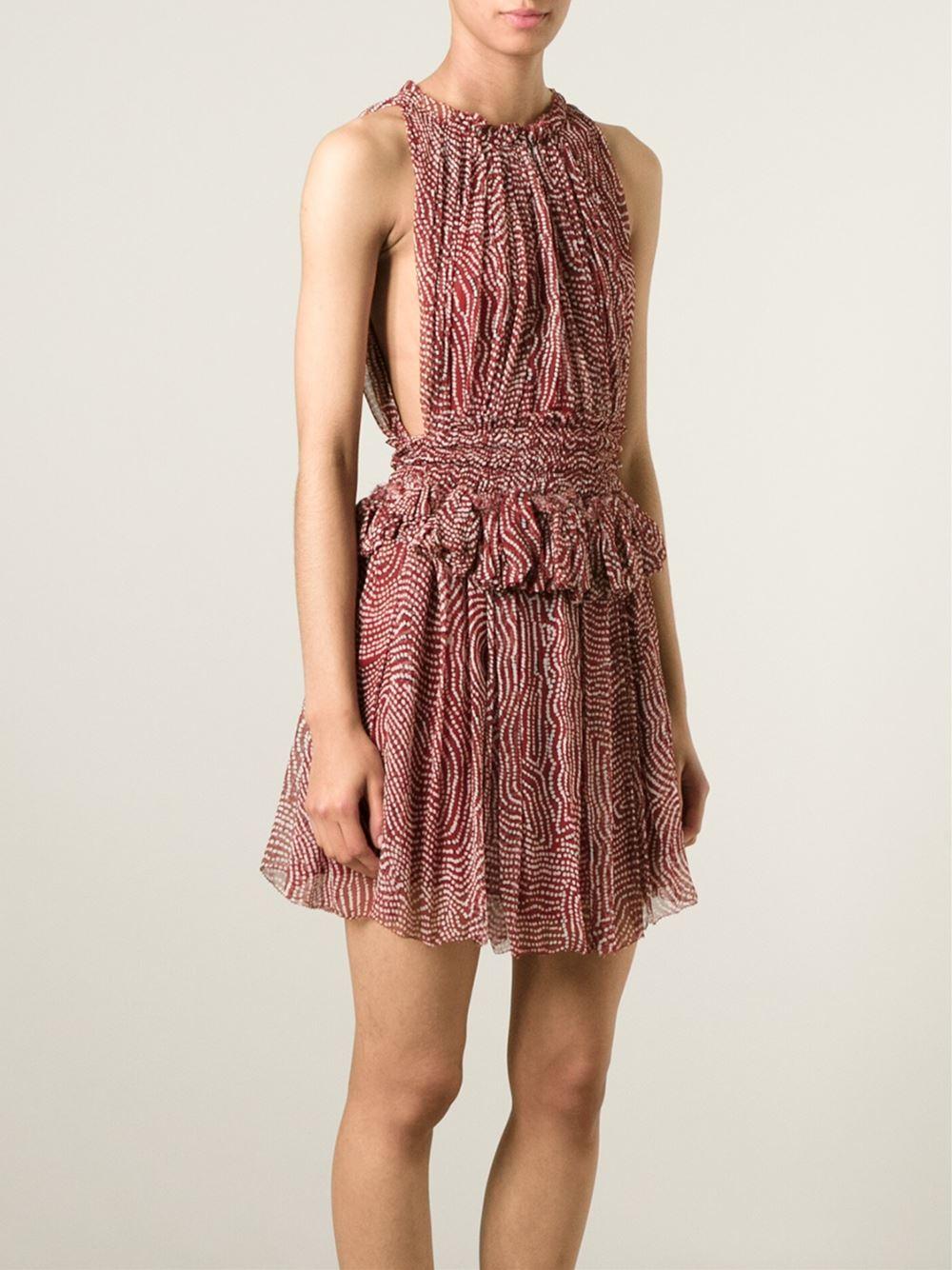 Lyst isabel marant mila silk dress in red for Isabel marant shirt dress