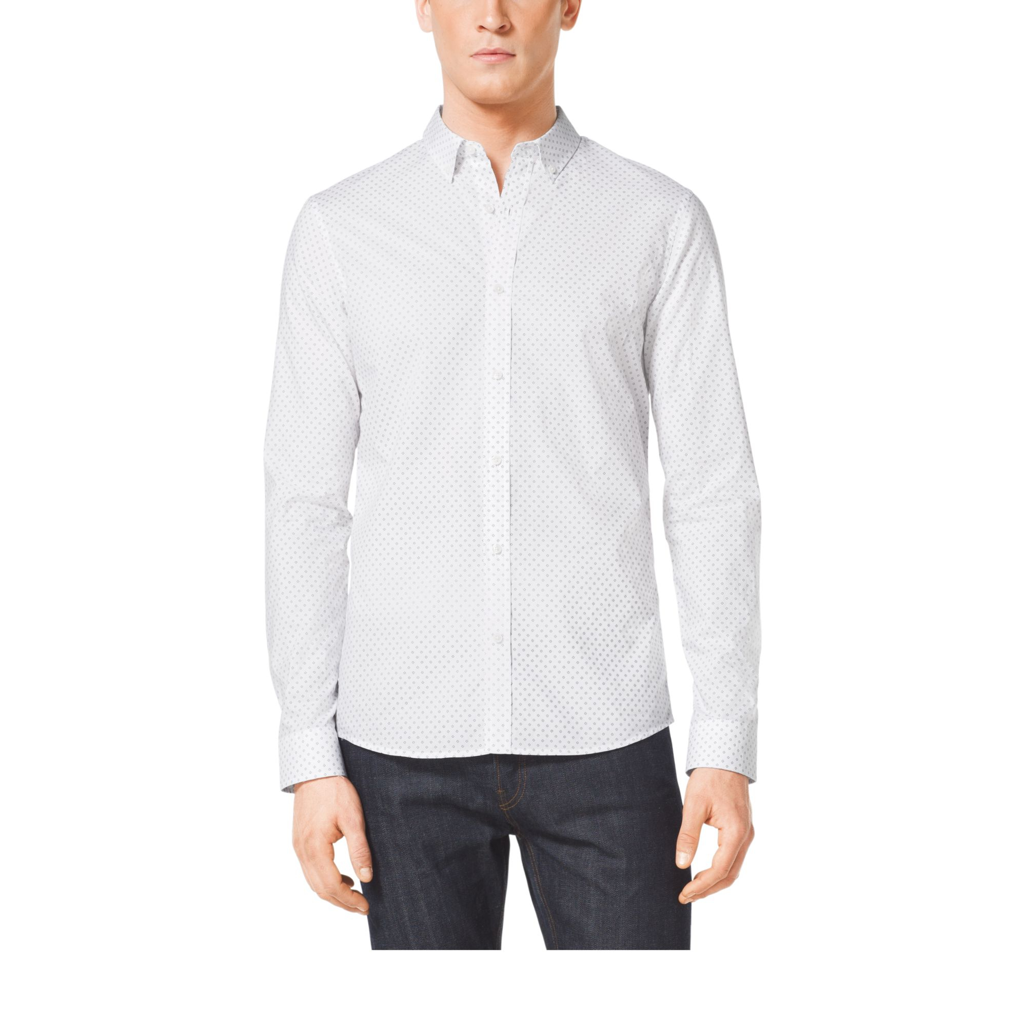 Lyst michael kors slim fit cotton shirt in white for men for Slim fit cotton shirts