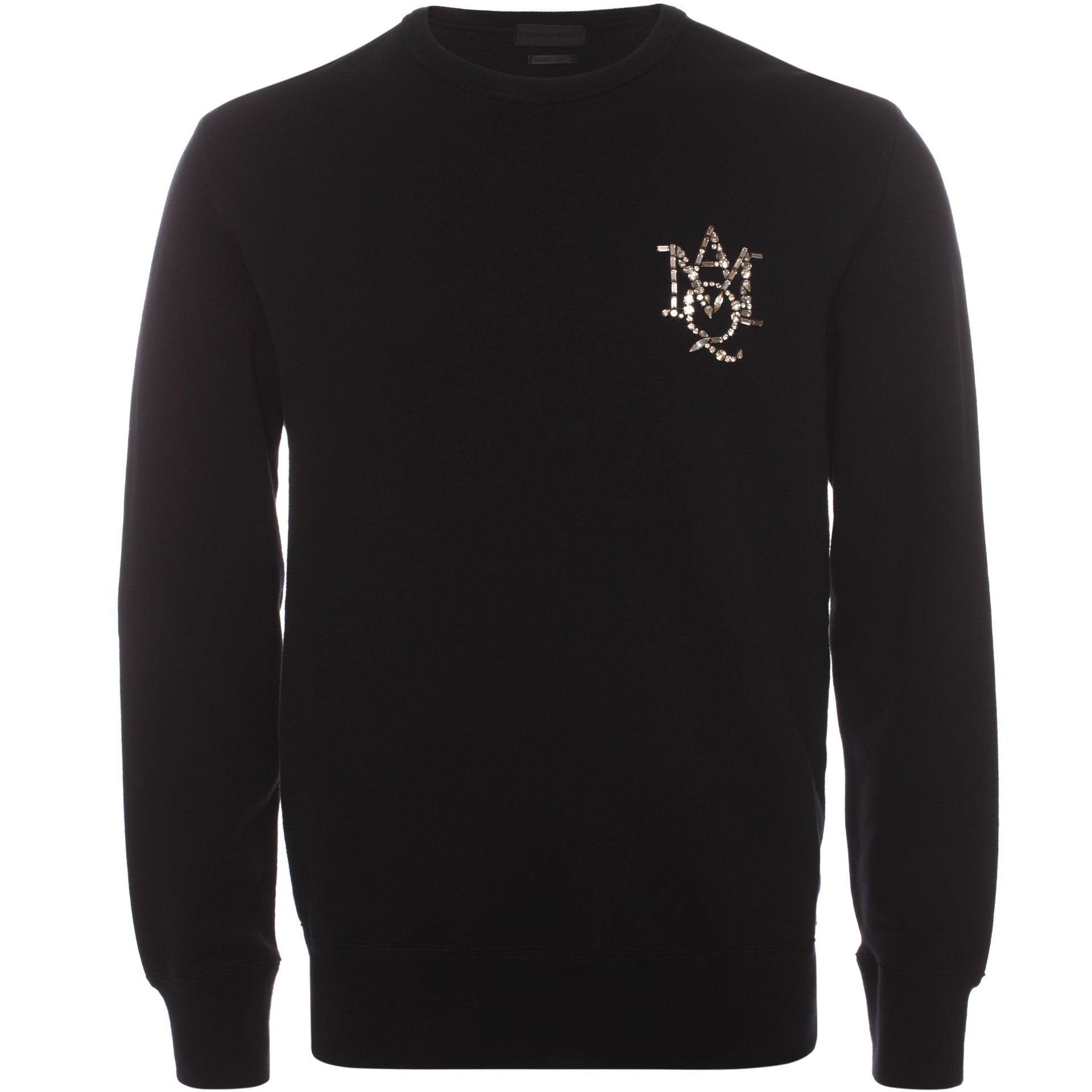 alexander mcqueen amq crystal embroidered sweatshirt in black for men lyst. Black Bedroom Furniture Sets. Home Design Ideas