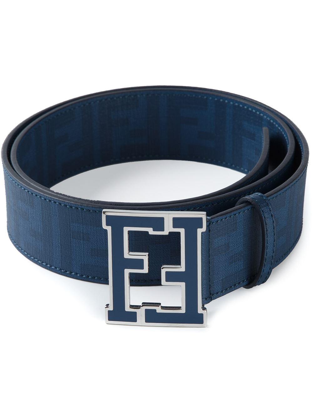 526723aaf50c ... cheapest lyst fendi ff logo buckle belt in blue for men 4fbbc c4d09
