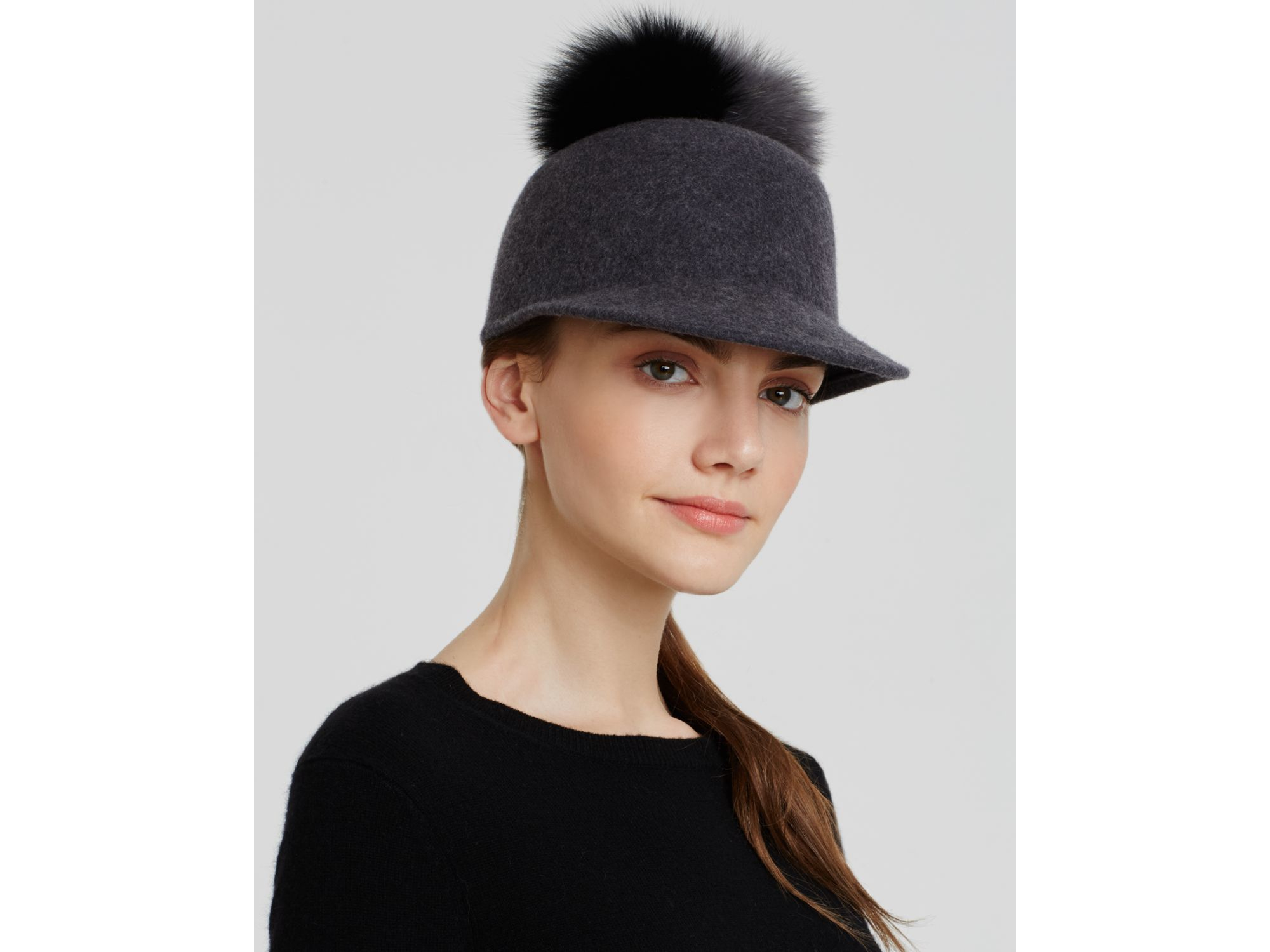 436597d9b Helene Berman Fox Fur Pom Pom Cap in Gray - Lyst
