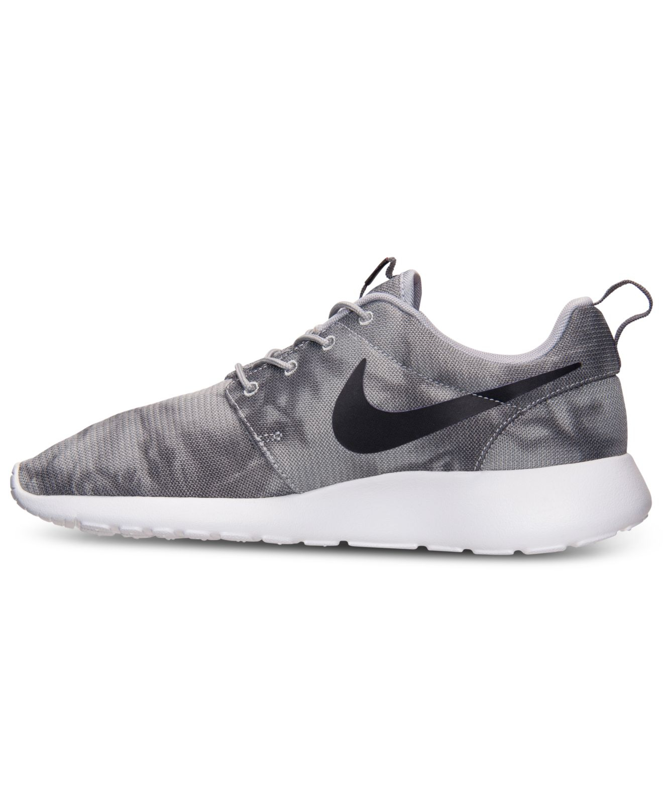 lyst nike men 39 s roshe run print casual sneakers from. Black Bedroom Furniture Sets. Home Design Ideas