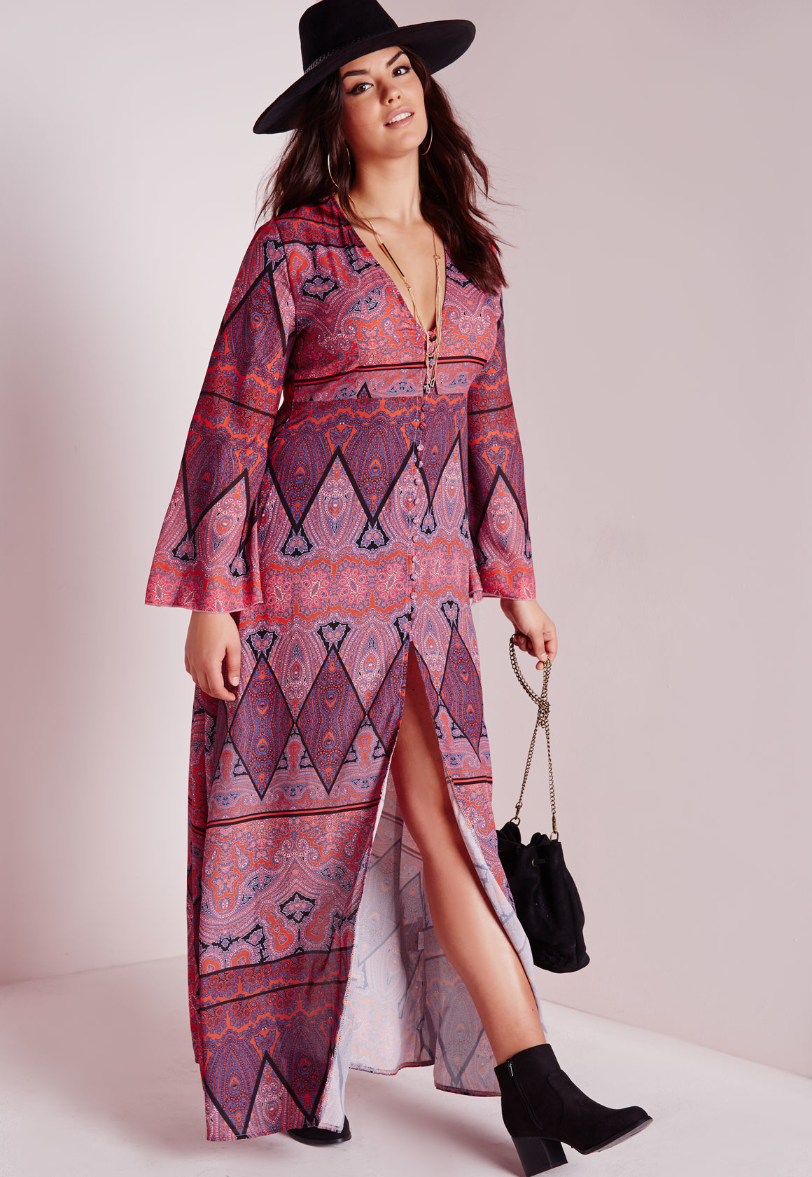 Lyst Missguided Plus Size Boho Maxi Dress Purple In Purple