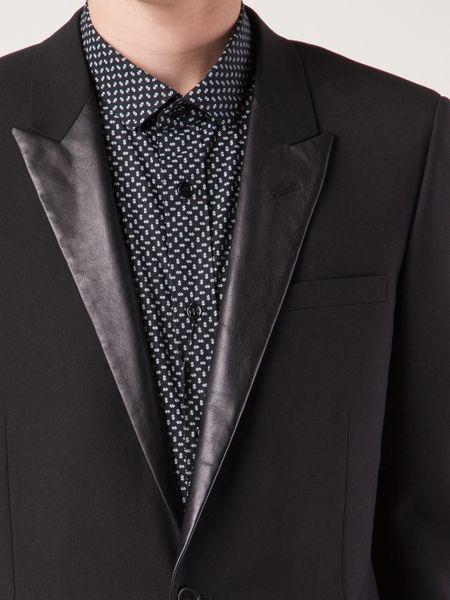Saint Laurent Leather Lapel Jacket In Black For Men Lyst