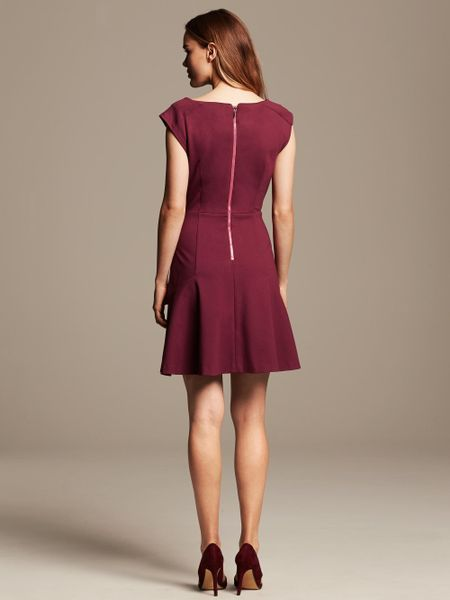 Banana Republic Pintuck Ponte Fit And Flare Dress In Red