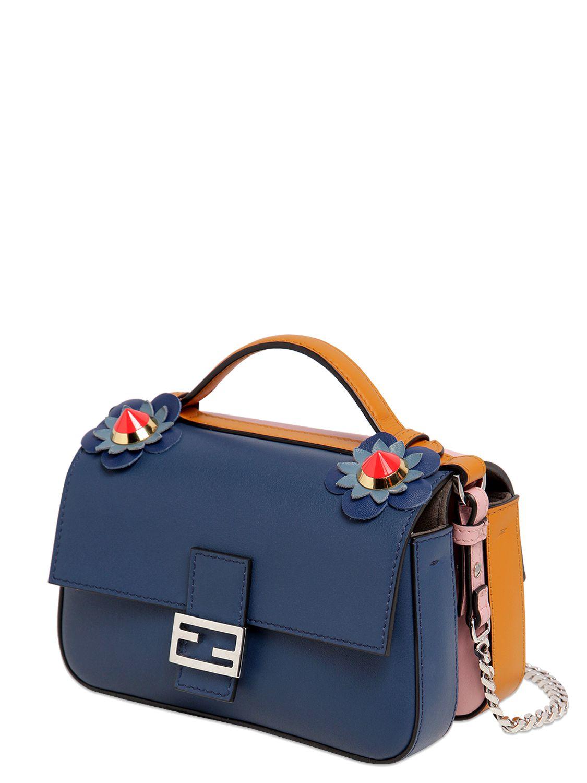 37f1a5a8380e ... discount lyst fendi double micro baguette leather bag in blue 80c14  7167a