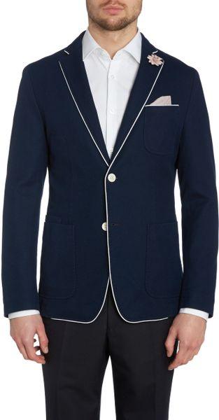 Hugo Boss Three Pocket Pique Blazer In Blue For Men Navy