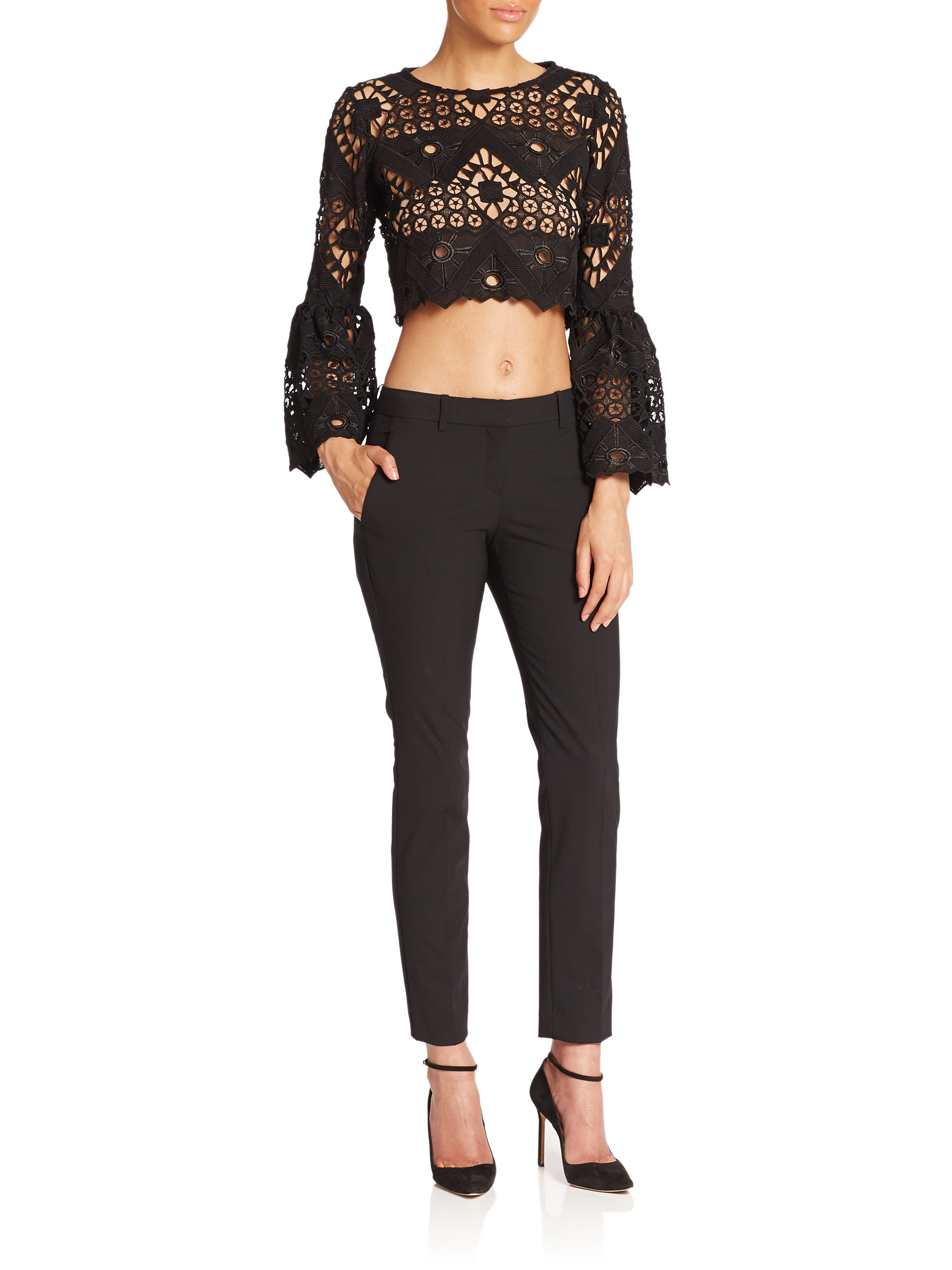 b1d0188c20d Alexis Vito Bell-sleeve Lace Cropped Top in Black - Lyst