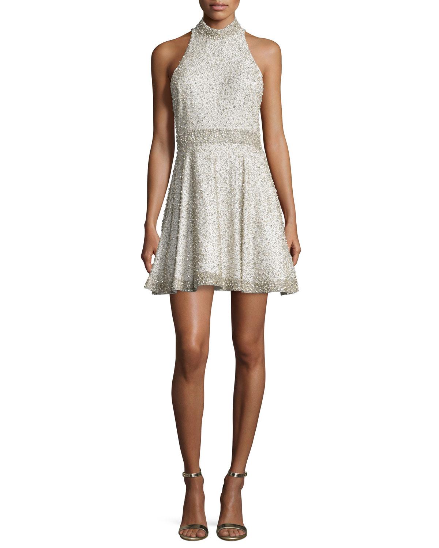 Alice Olivia Hollie Embellished Fit Amp Flare Dress In