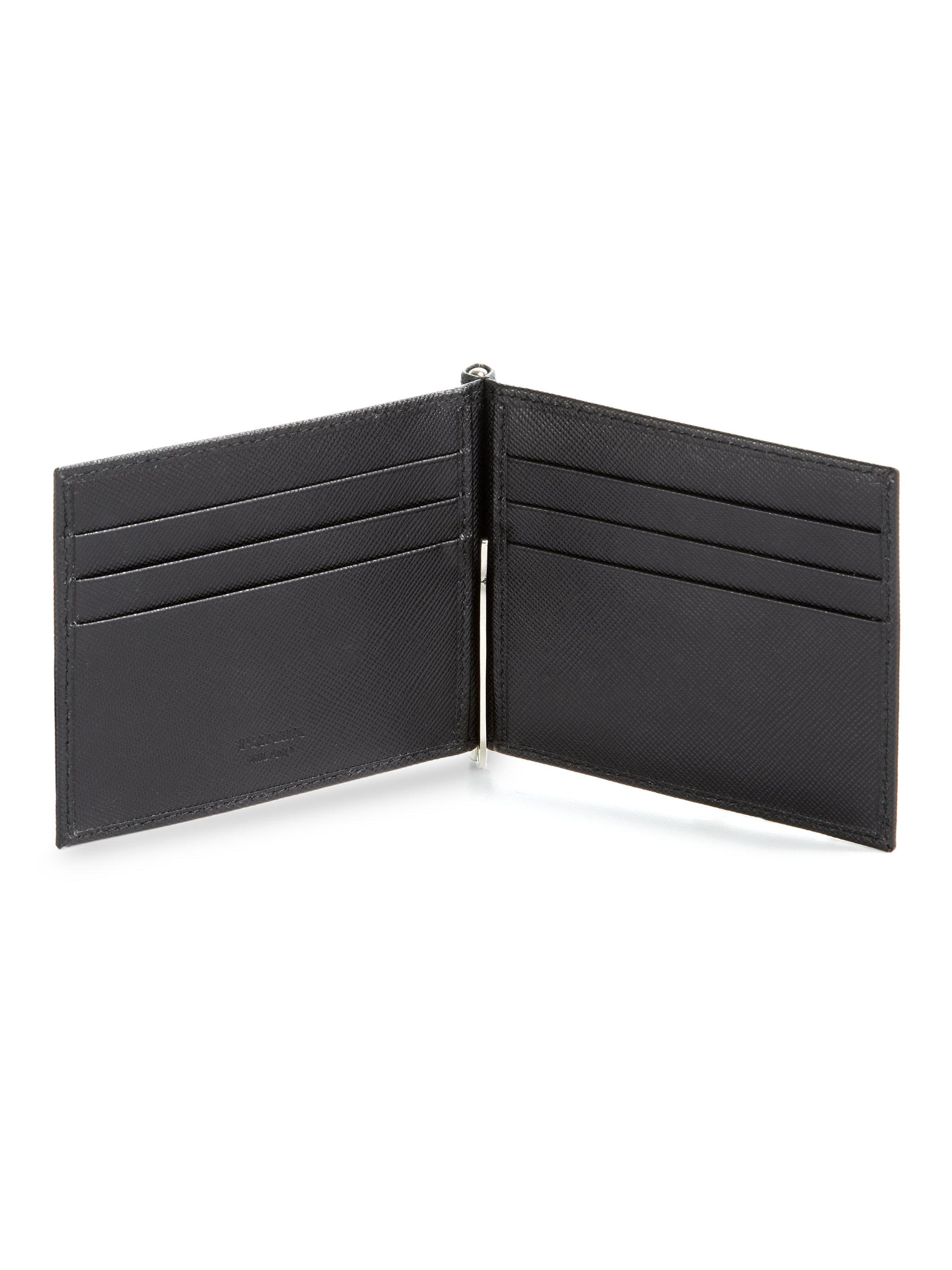 b3cec00e7a12 Prada Saffiano Money Clip Wallet in Black for Men - Lyst