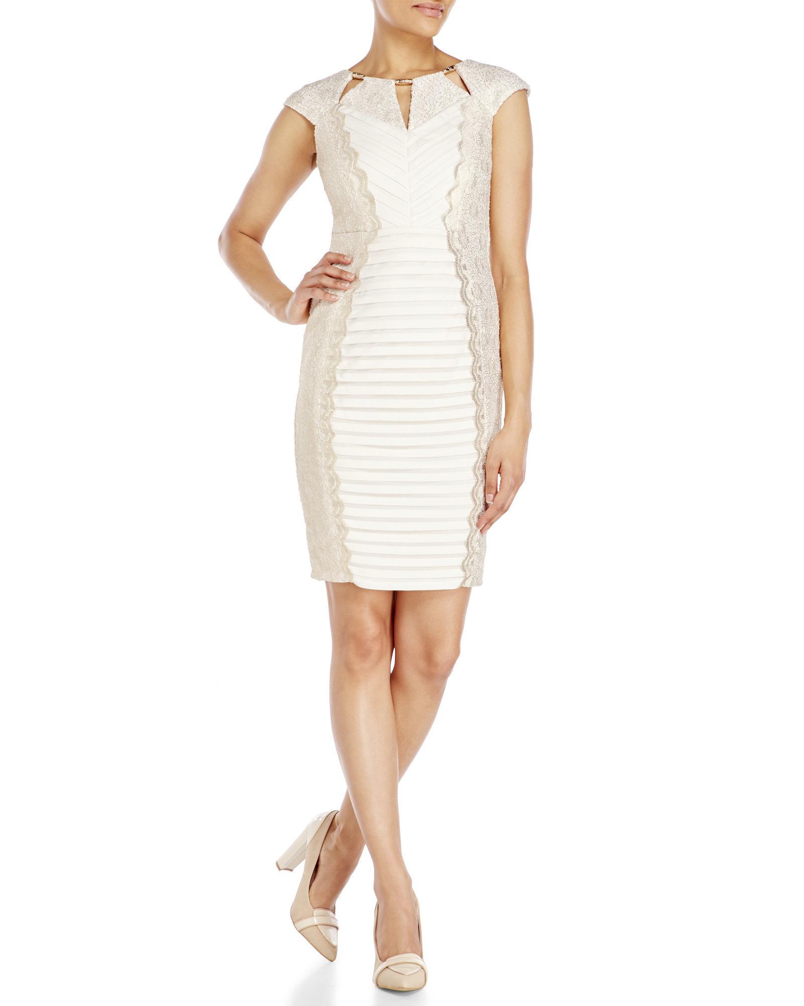 Lyst Jax Studio Cutout Pleated Sheath Dress In White