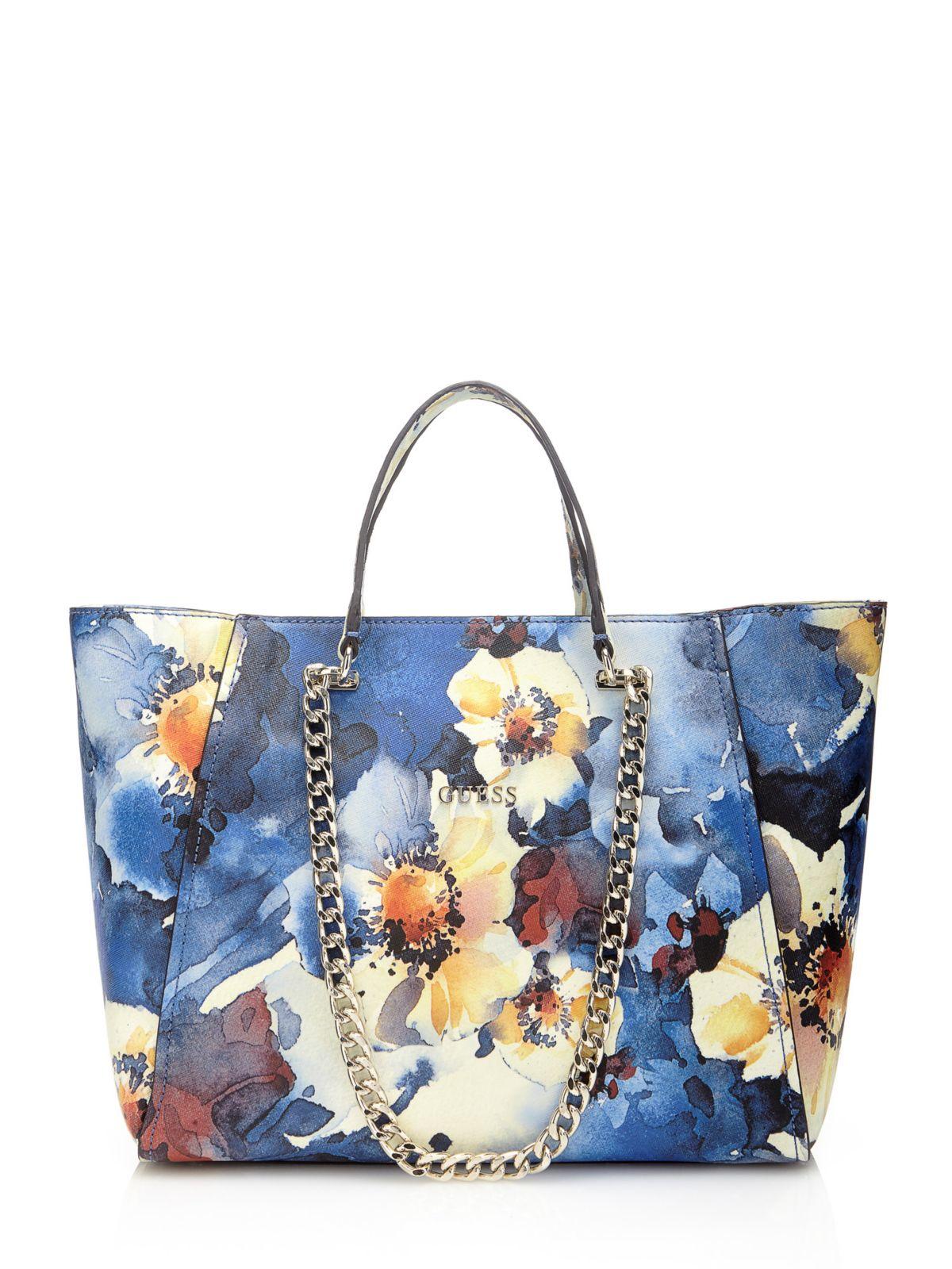Guess Nikki Watercolour Floral Print Shopper In Blue | Lyst
