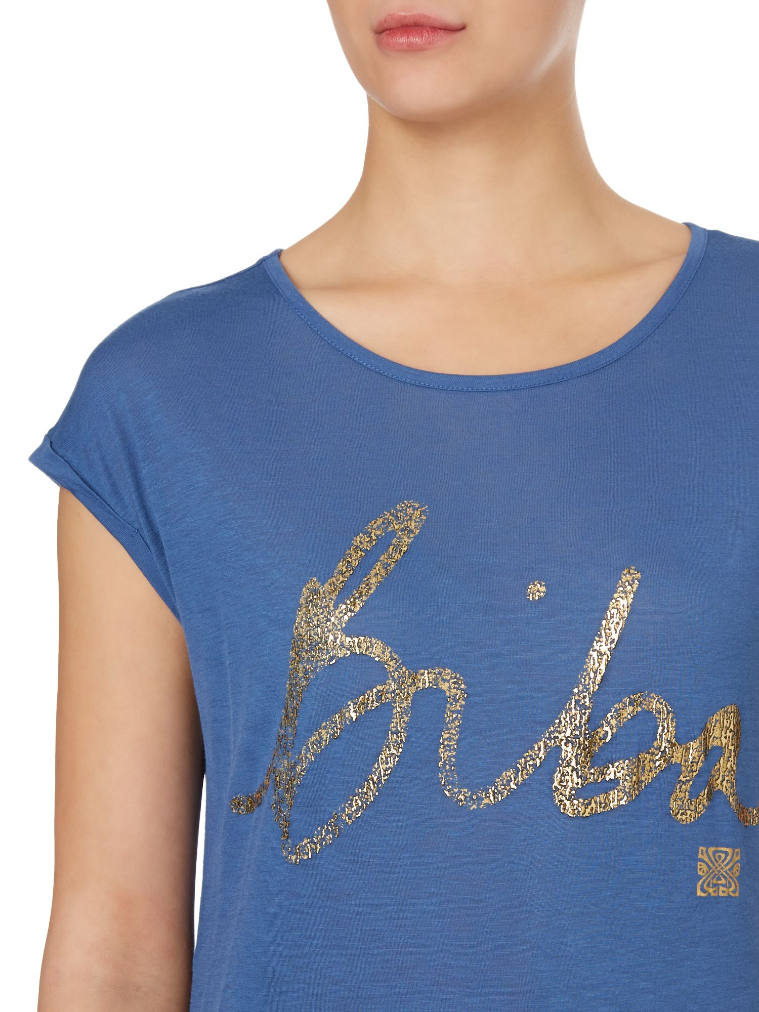 Lyst biba foil print t shirt in blue for Foil print t shirts custom
