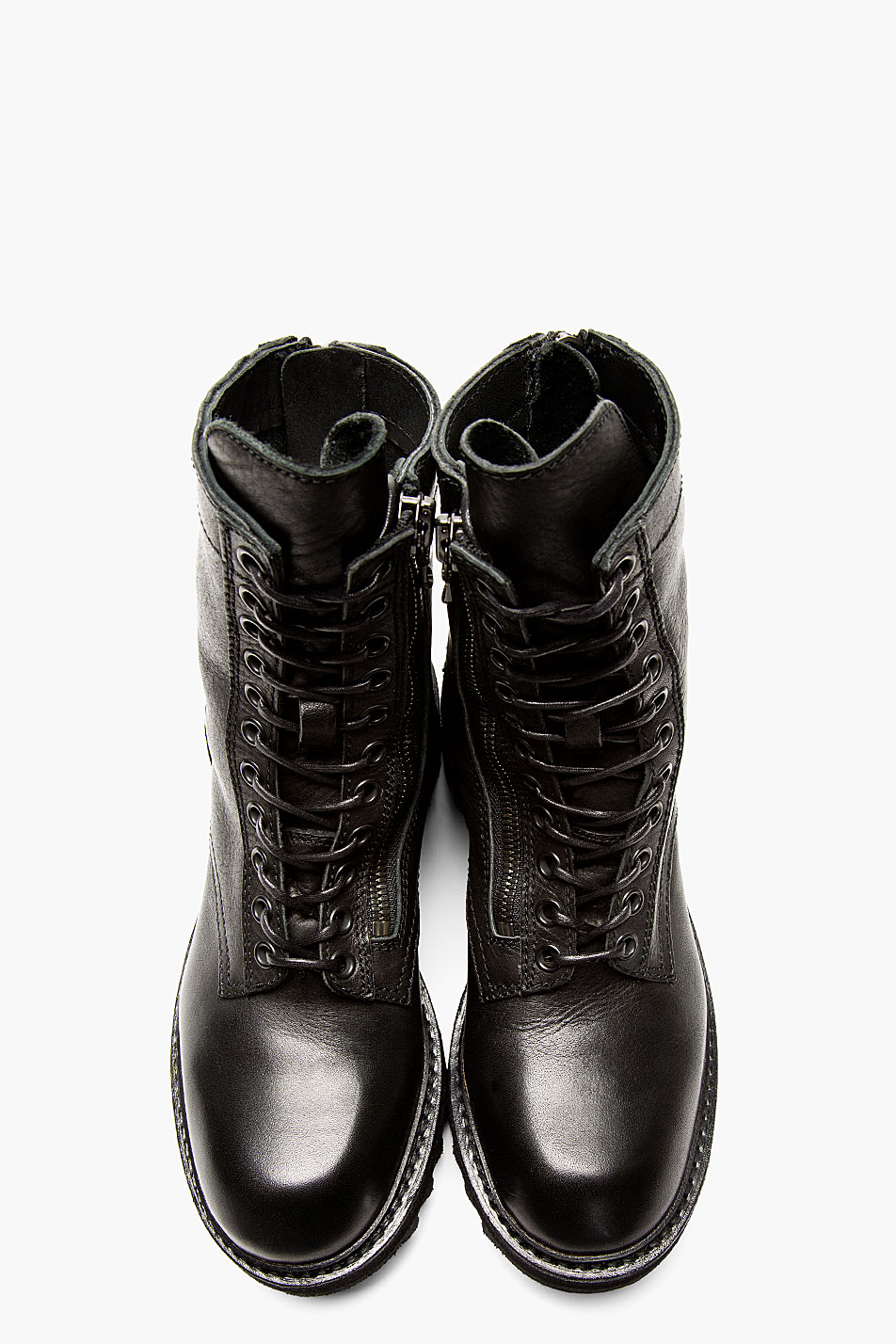Lyst Julius Black Leather Zipped Combat Boots In Black