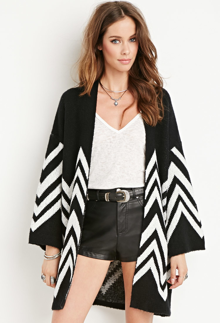 Forever 21 Chevron Patterned Cardigan in Black | Lyst