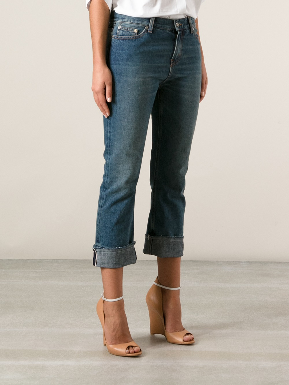 erika cavallini semi couture cropped slim fit jean in blue. Black Bedroom Furniture Sets. Home Design Ideas