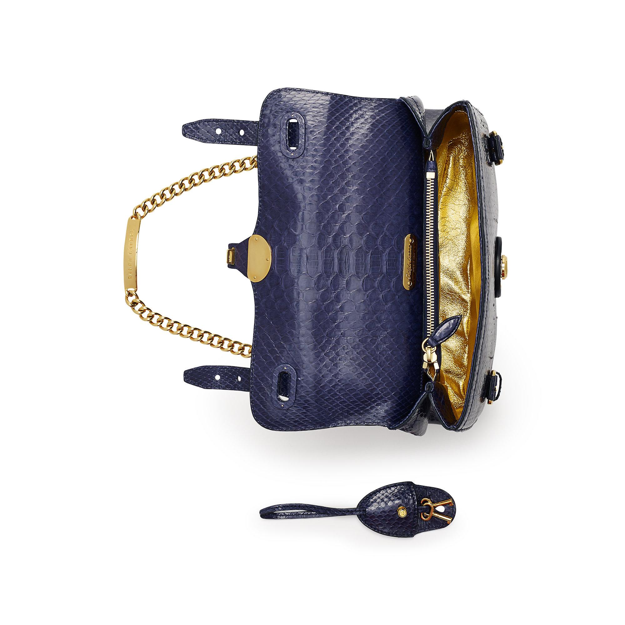 4552d226b770 ... Lyst - Ralph Lauren Python Ricky Id Chain Bag in Blue check out 5e07d  cffb5  Python RL ...