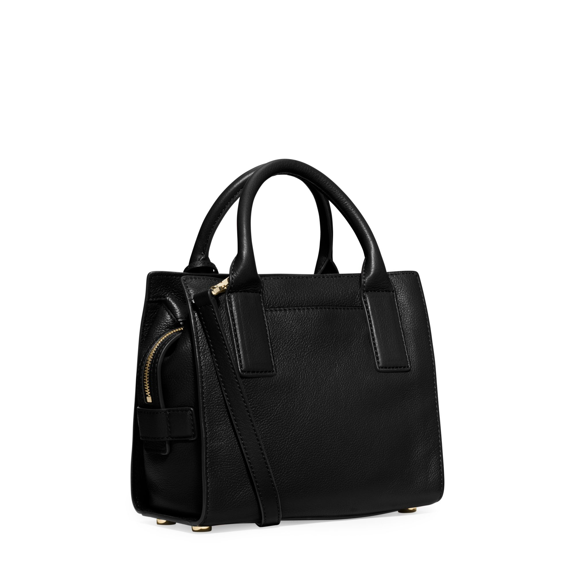 645fdcd59a9e Lyst - Michael Kors Mckenna Small Leather Satchel in Black