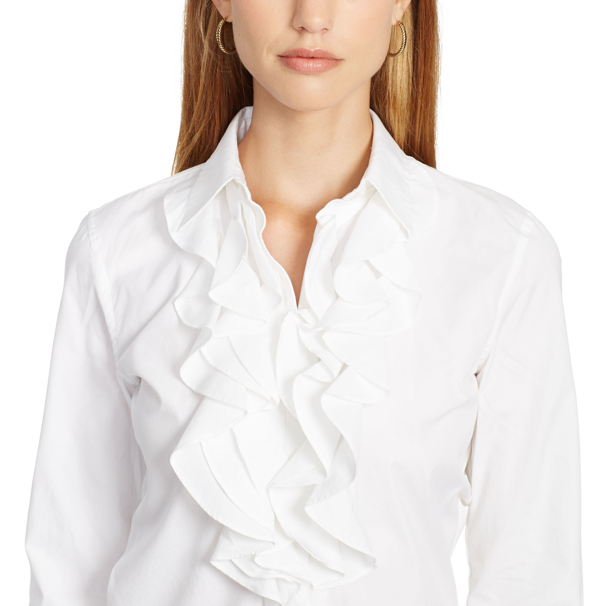 6a9b40e53269f3 ... real canada ralph lauren ruffle front cotton shirt in white lyst 71f95  746a9 2c407 ccba8