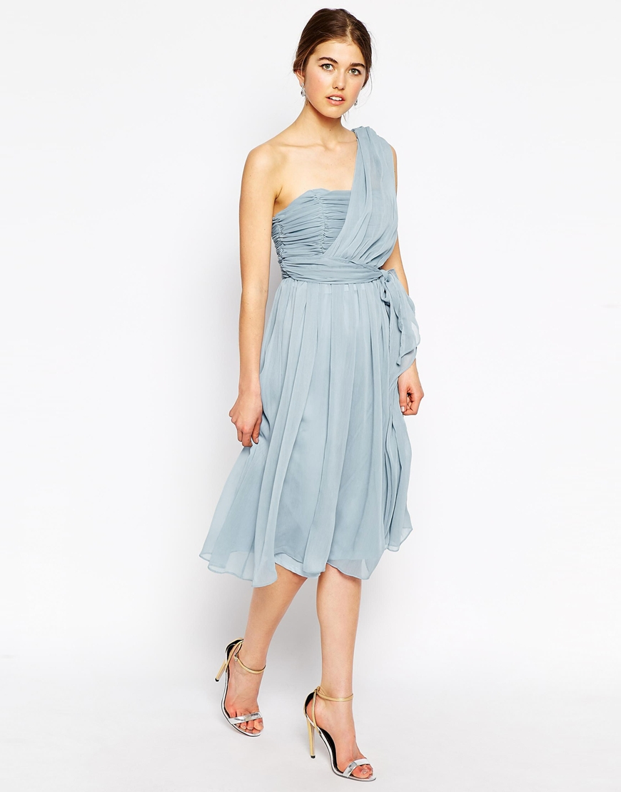 Lyst - True Decadence One Shoulder Soft Midi Prom Dress in Blue
