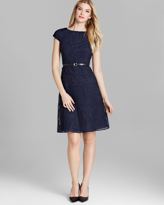 Lyst Anne Klein Dress Cap Sleeve Texture Knit Belted