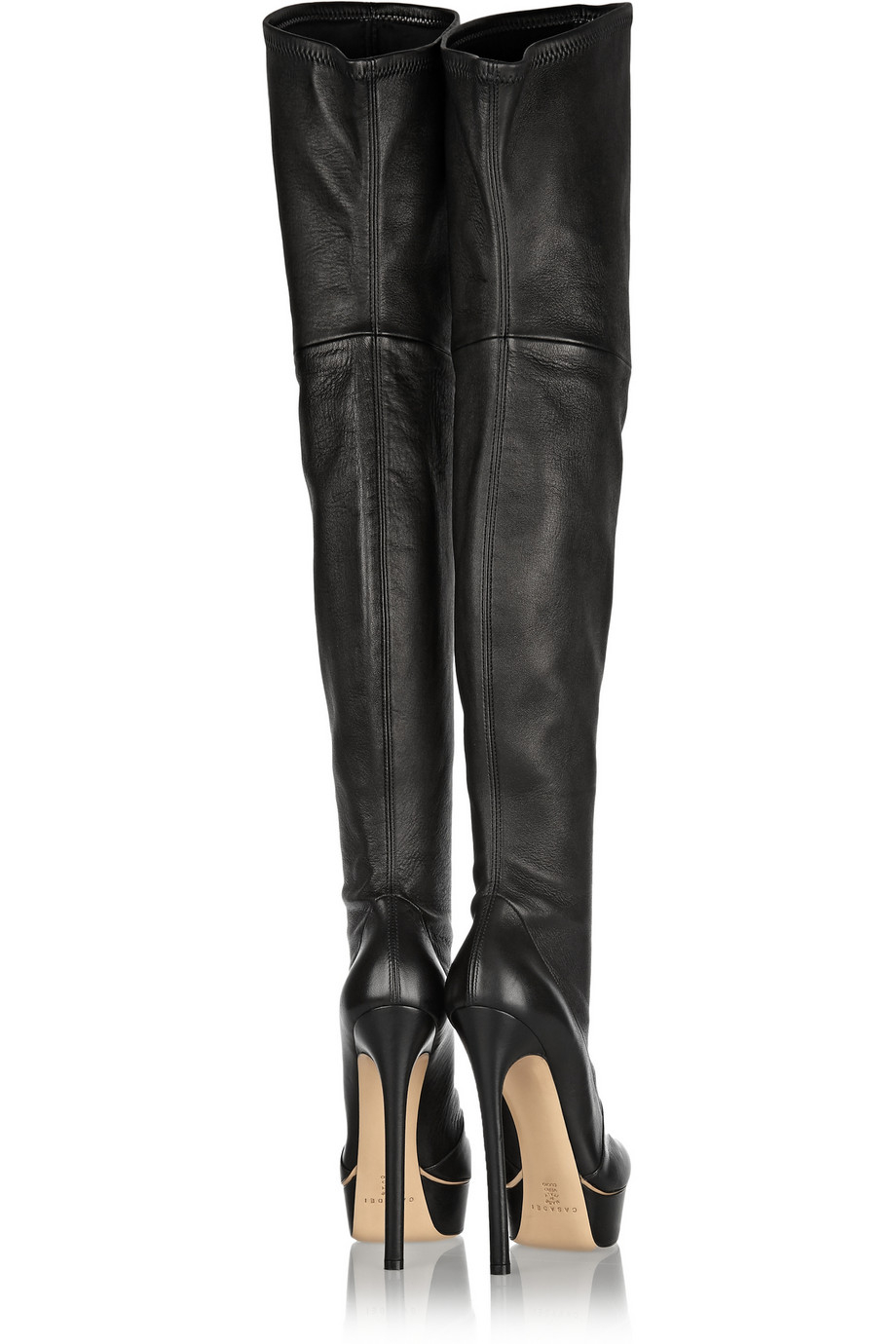 Casadei Stretch-Leather Over-The-Knee Boots in Black | Lyst