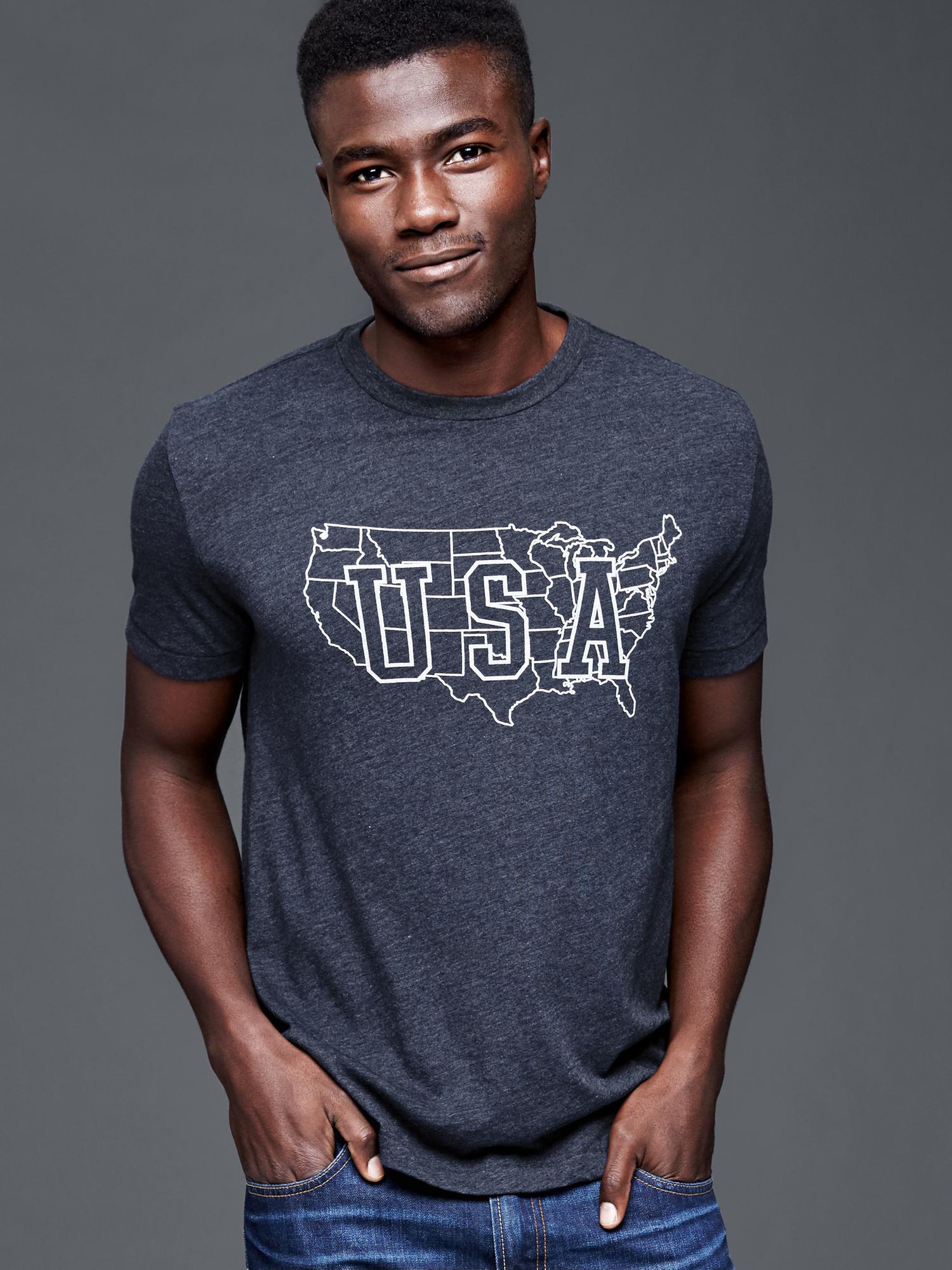 Gap Usa Regional T Shirt In Blue For Men New Classic Navy