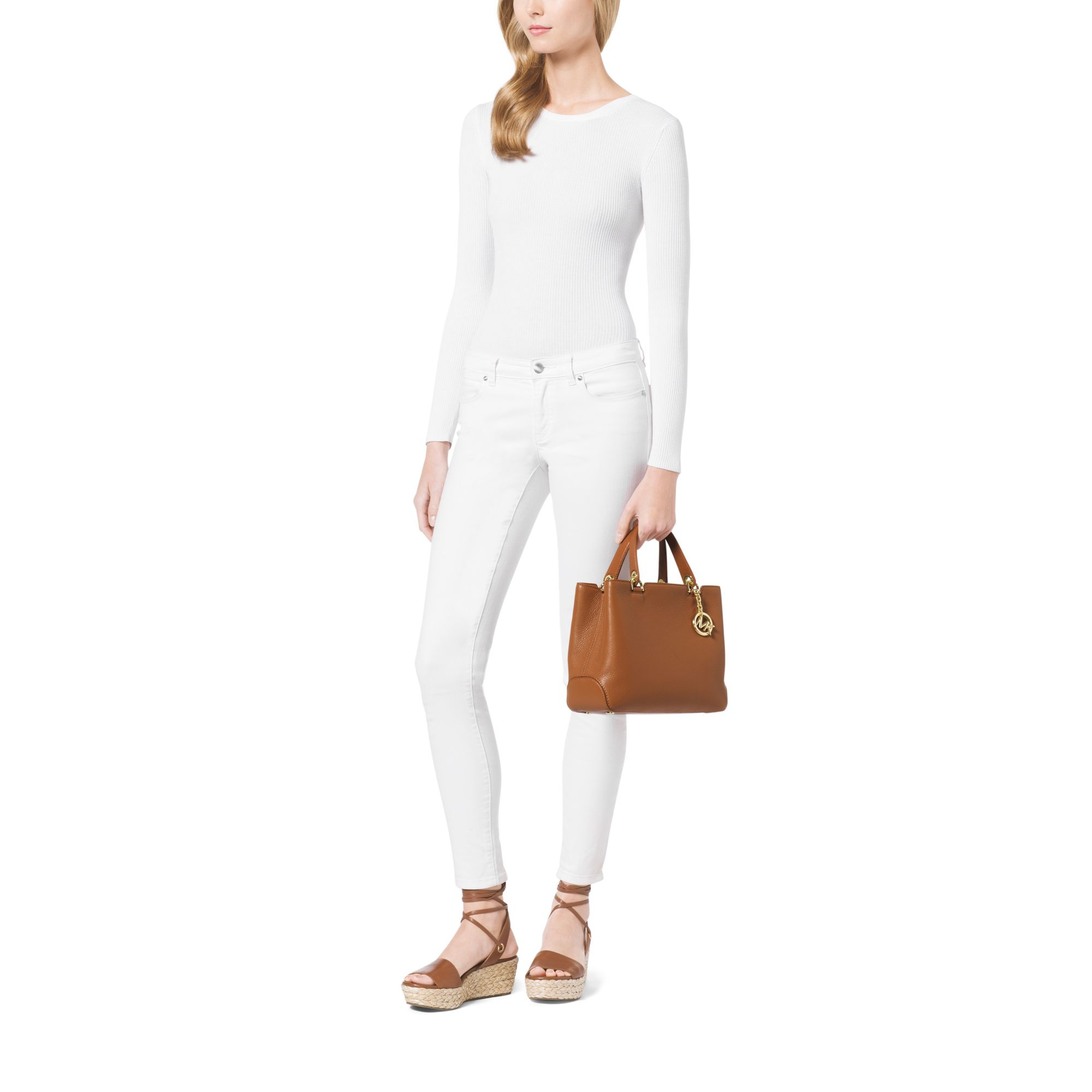fd8e141e1ce1 Lyst - Michael Kors Anabelle Medium Leather Tote in Brown