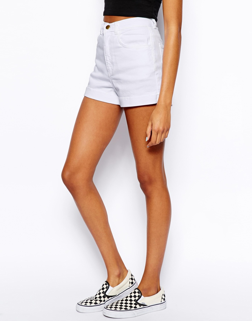 21273829f5 American Apparel High Waist Denim Shorts in White - Lyst