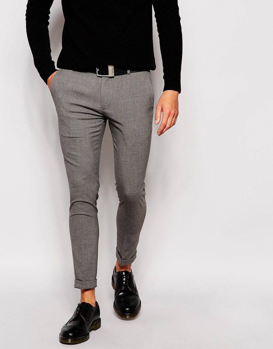 Asos Super Skinny Smart Cropped Trousers in Gray for Men | Lyst