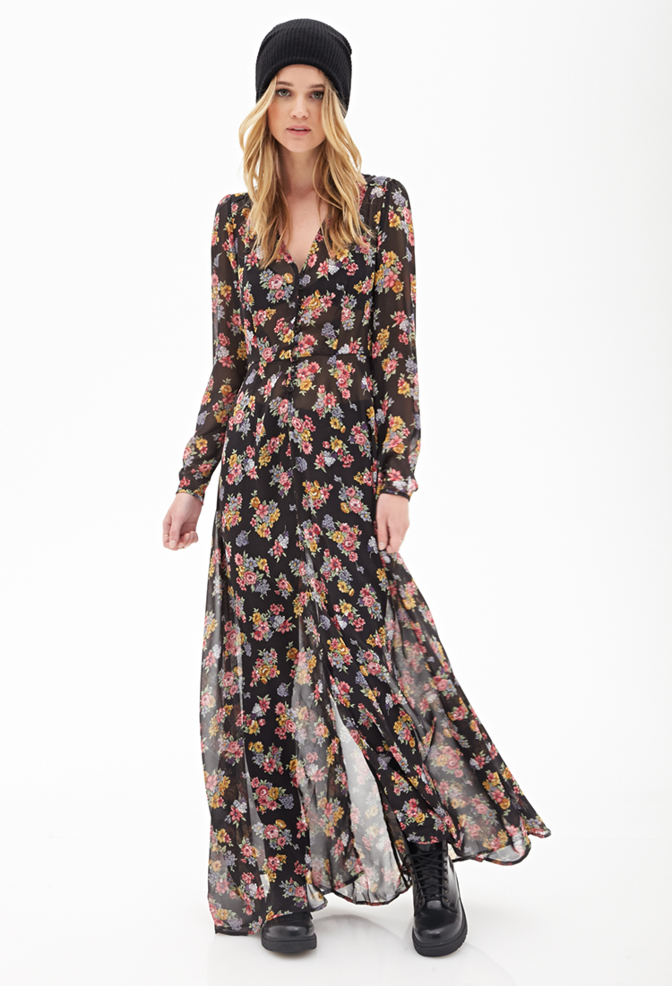lyst forever 21 floral chiffon maxi dress in pink. Black Bedroom Furniture Sets. Home Design Ideas