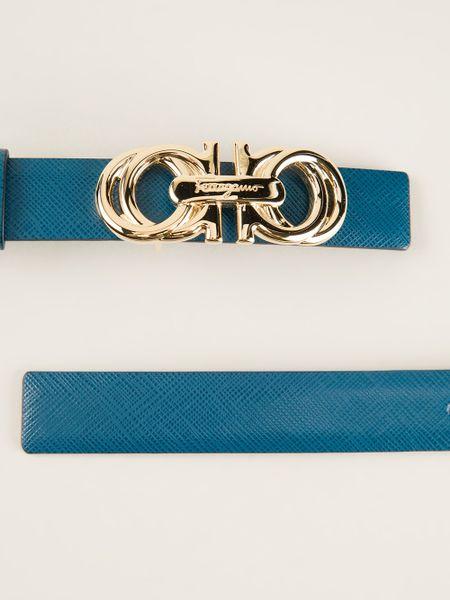 Ferragamo Logo Buckle Belt in Blue - Lyst