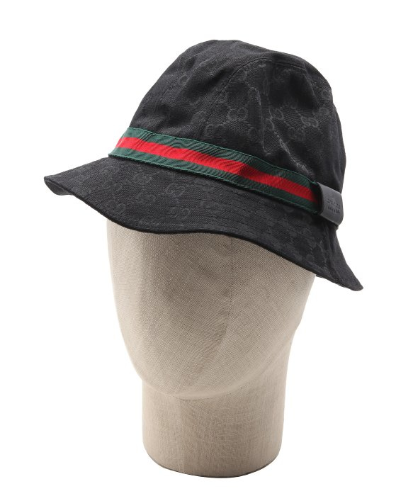 lyst gucci black sima canvas web stripe bucket hat in