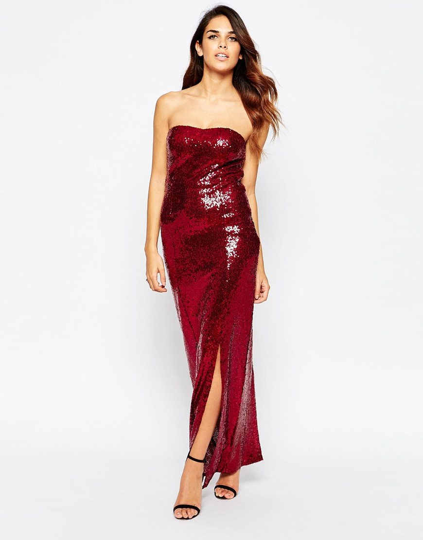 Club l Sequin Bandeau Maxi Dress in Purple | Lyst