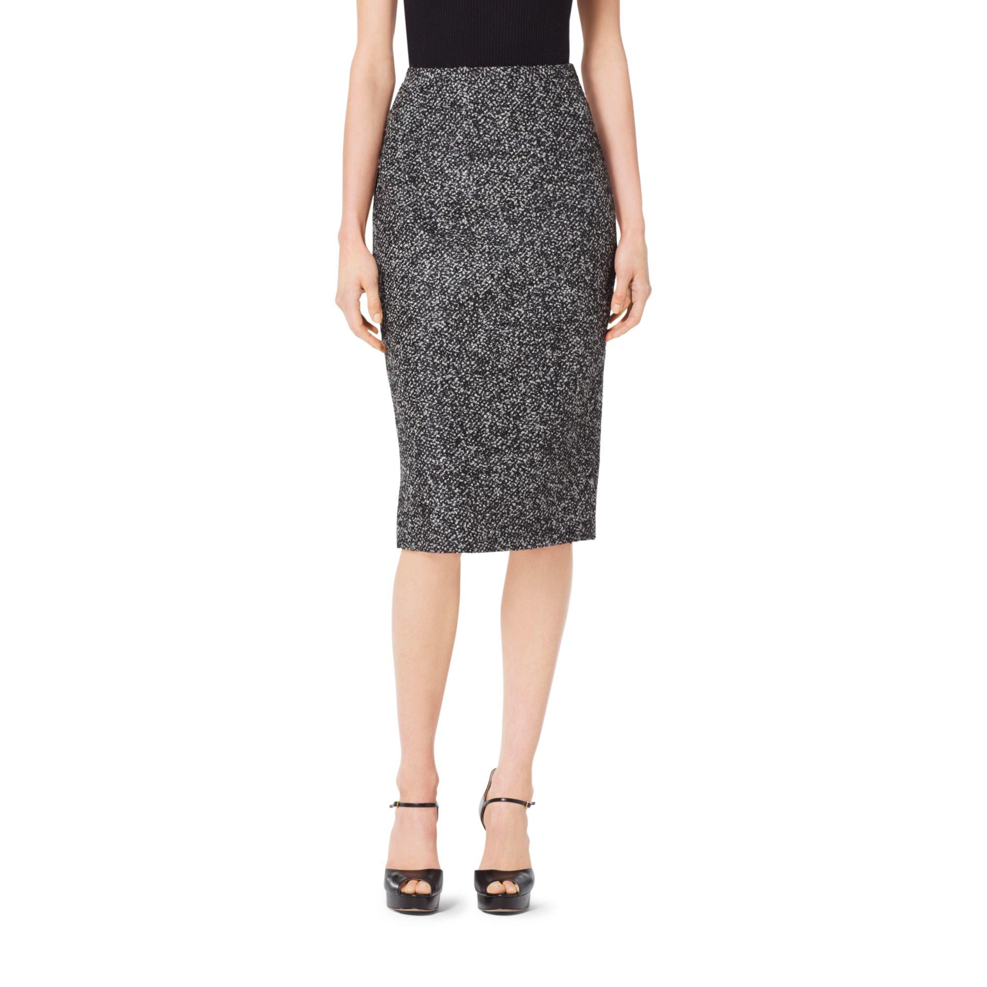 michael kors tweed wool boucl 233 pencil skirt in black lyst