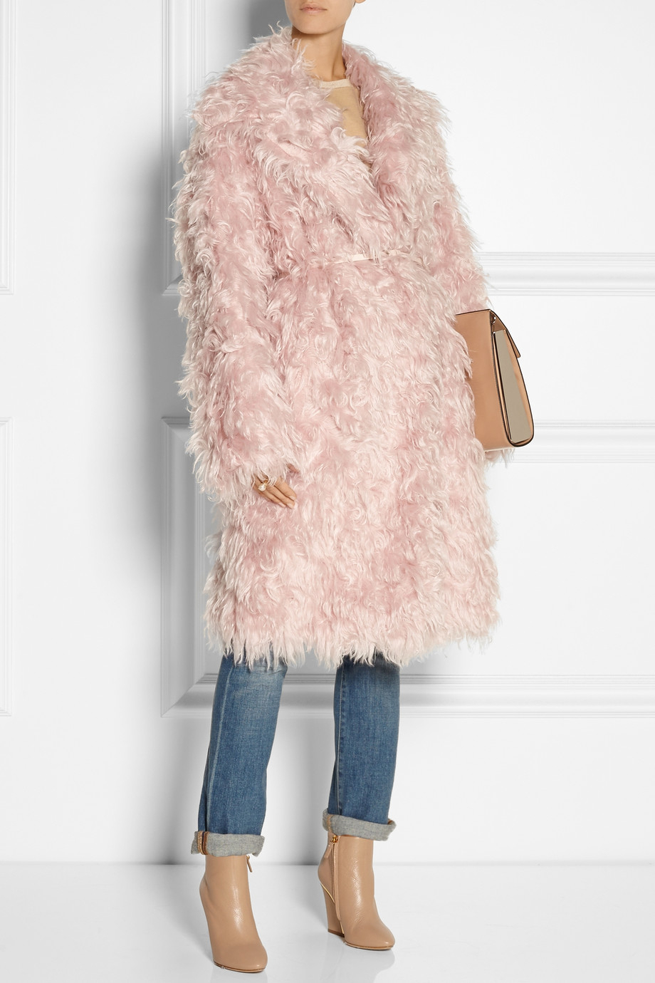 N°21 Casire Oversized Mohair-Blend Faux Shearling Coat in Pink | Lyst