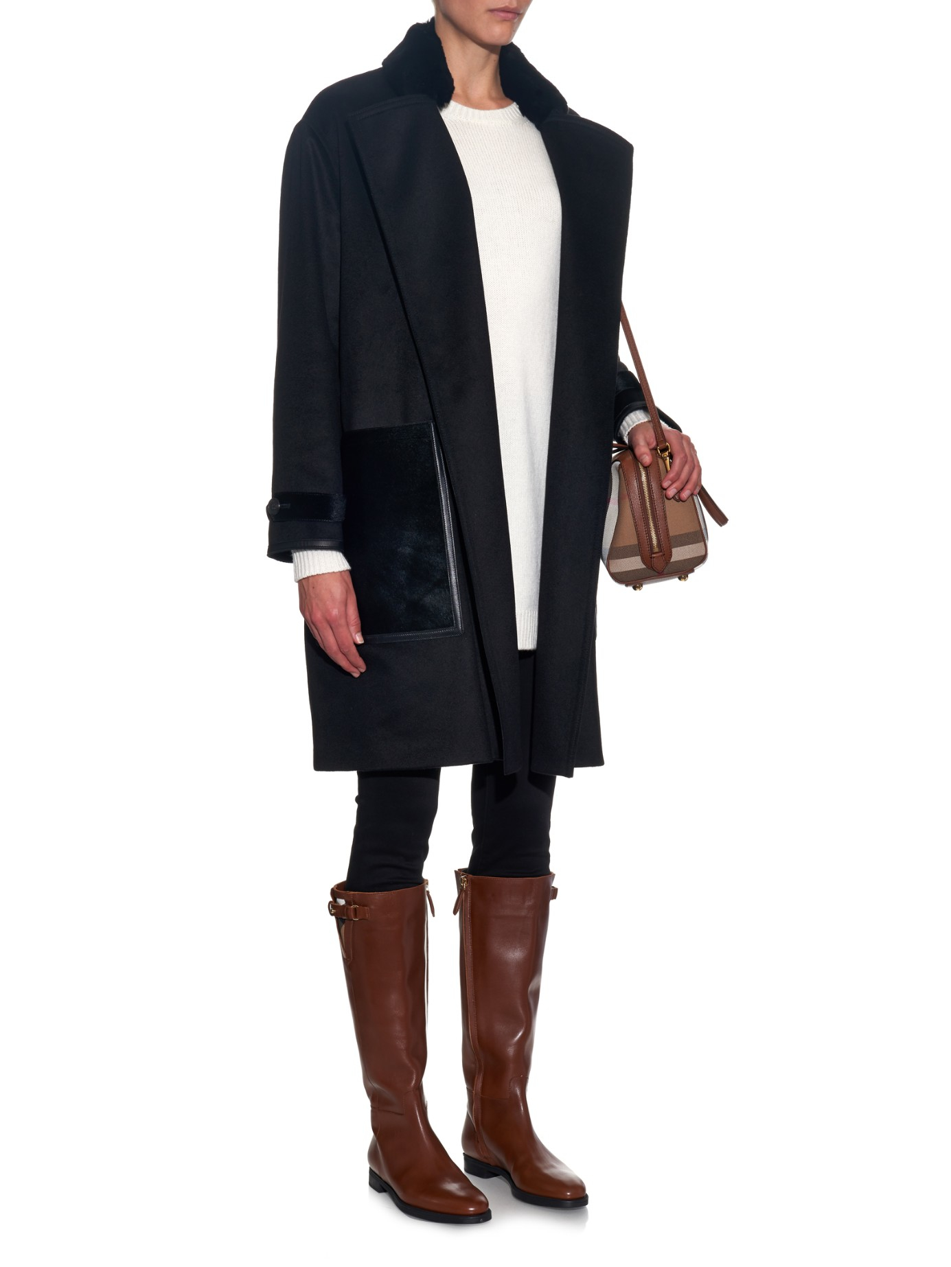 Burberry House-Check Trim Leather Riding Boots in Brown | Lyst