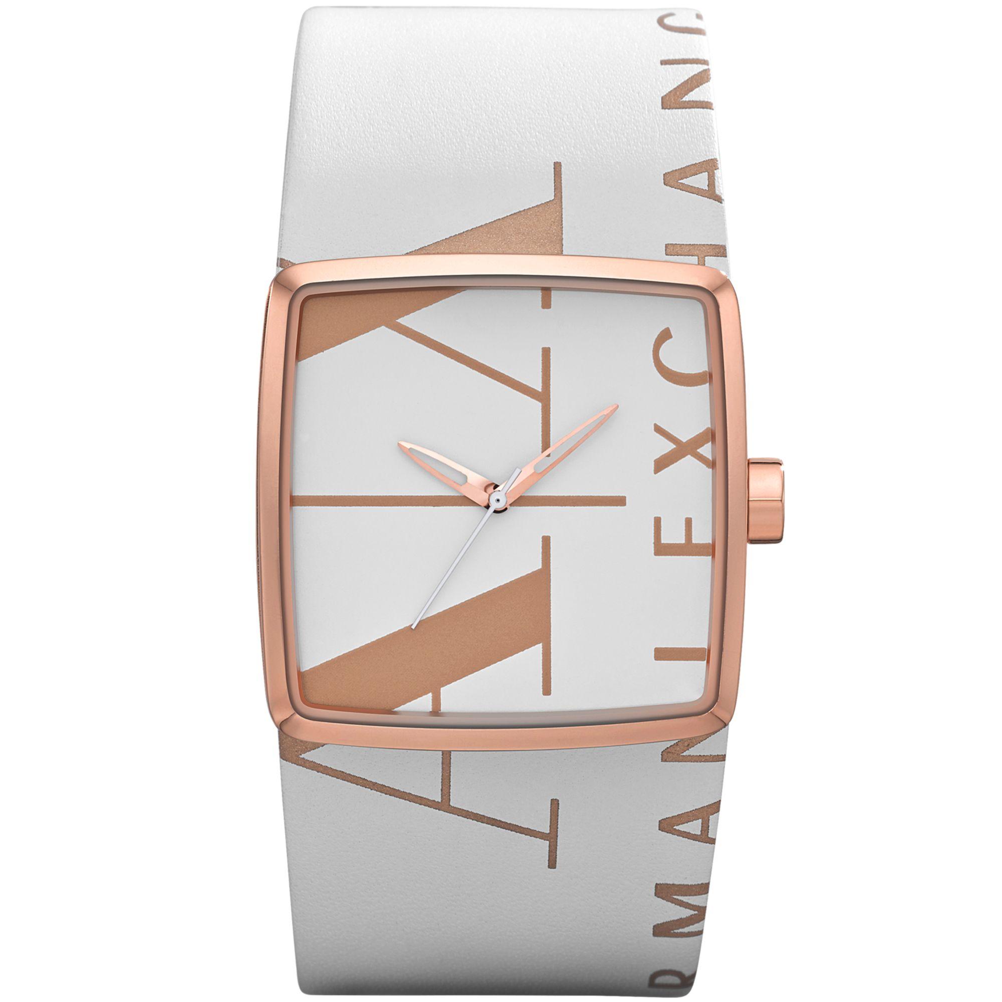 Armani Exchange Ax Armani Exchange Womens White Leather ...