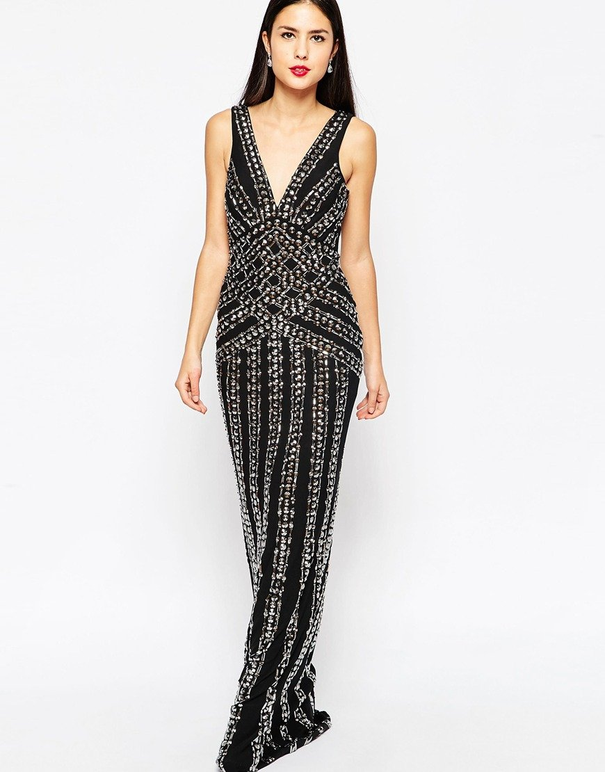 forever unique beaded maxi dress in black lyst