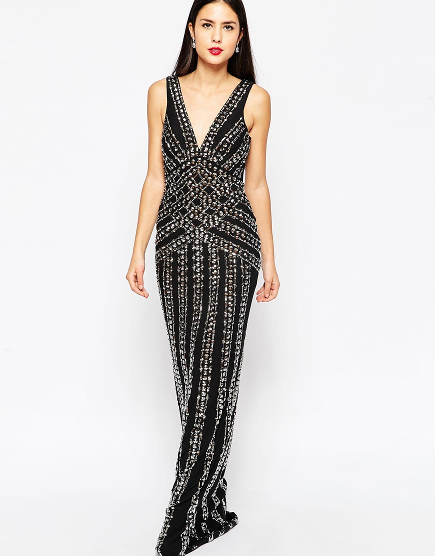 Forever unique Beaded Maxi Dress in Black | Lyst