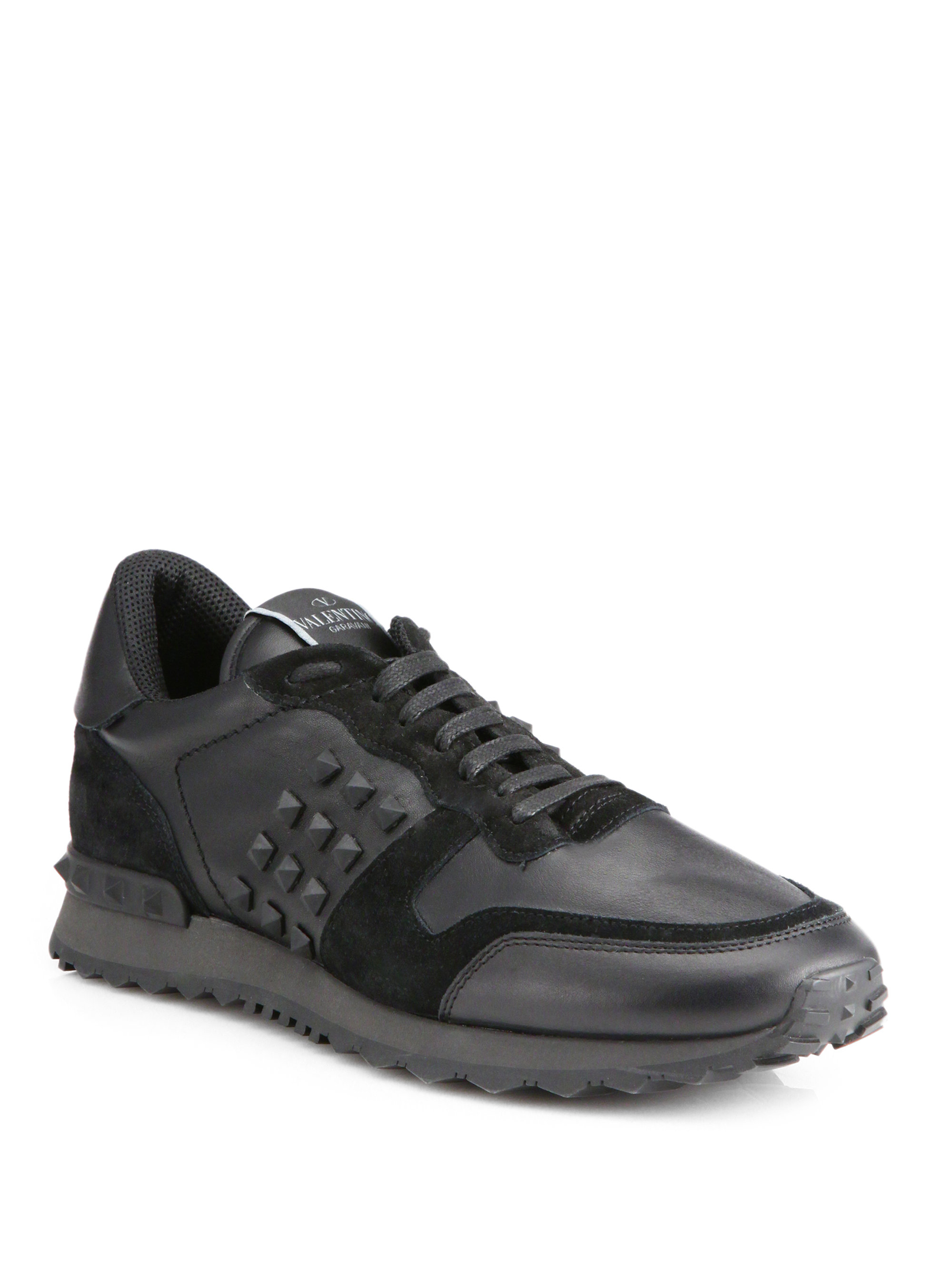 950fcc48a467 Lyst - Valentino Rockstud Sneakers in Black for Men