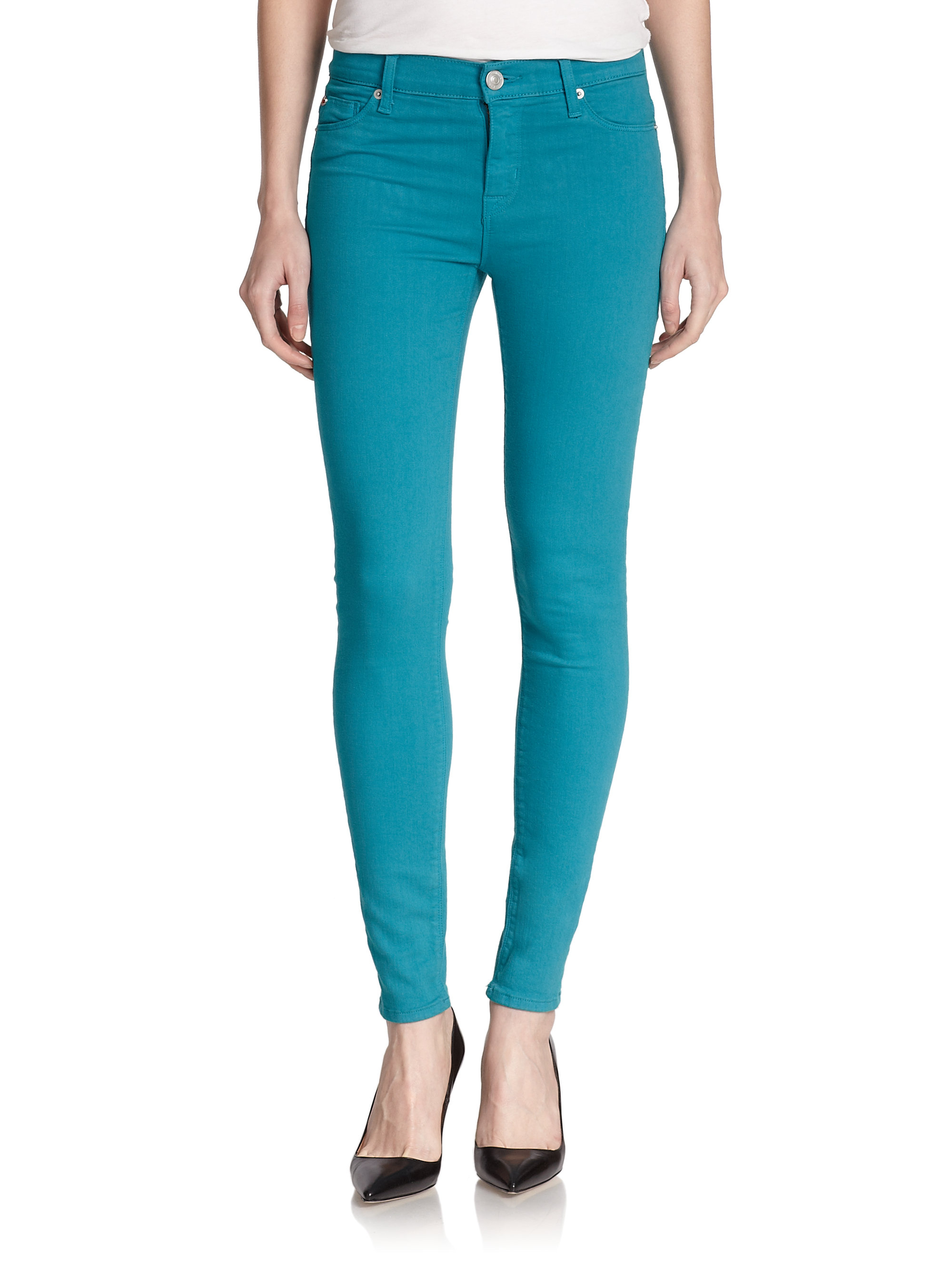 hudson nico super skinny jeans in teal marina lyst. Black Bedroom Furniture Sets. Home Design Ideas